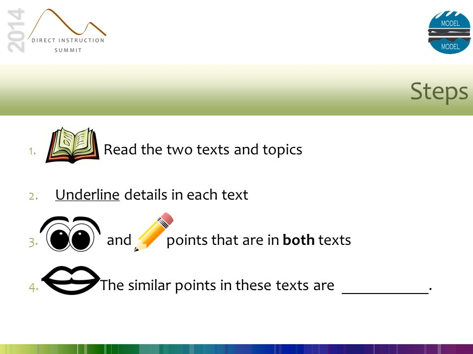 Steps 1. Read the two texts and topics 2. Underline details in each text 3. and points that are in both texts 4. The similar points in these texts are