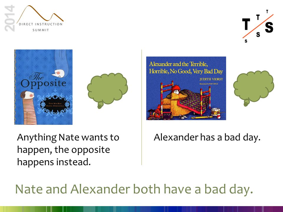 Anything Nate wants to happen, the opposite happens instead. Alexander has a bad day. Nate and Alexander both have a bad day.