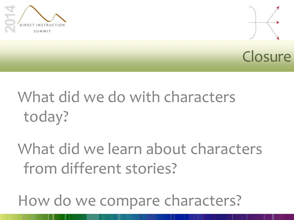 Closure What did we do with characters today? What did we learn about characters from different stories? How do we compare characters?