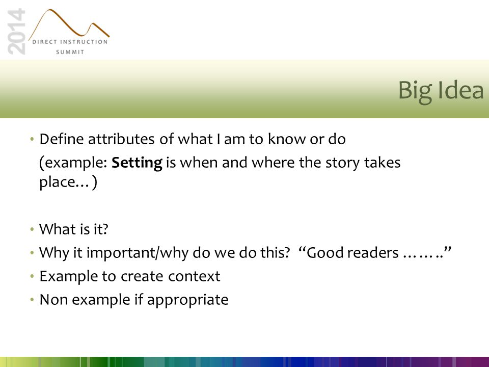 Big Idea Define attributes of what I am to know or do (example: Setting is when and where the story takes place…) What is it? Why it important/why do
