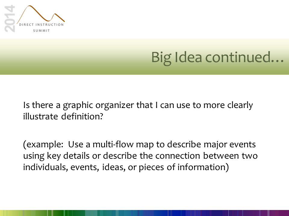 Big Idea continued… Is there a graphic organizer that I can use to more clearly illustrate definition? (example: Use a multi-flow map to describe majo