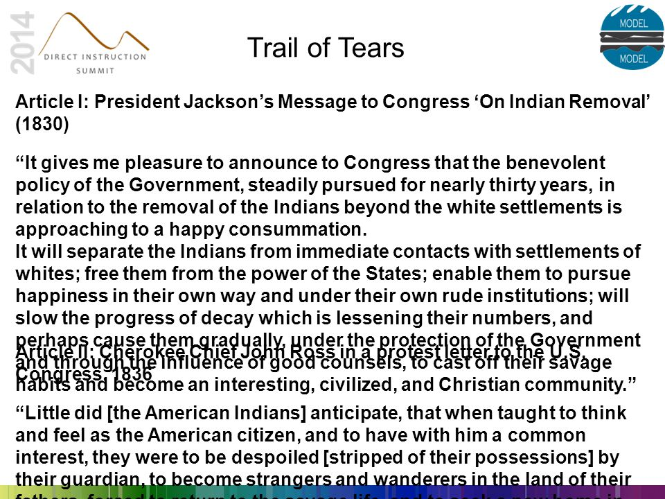 "Trail of Tears Article II: Cherokee Chief John Ross in a protest letter to the U.S. Congress, 1836 ""Little did [the American Indians] anticipate, that"