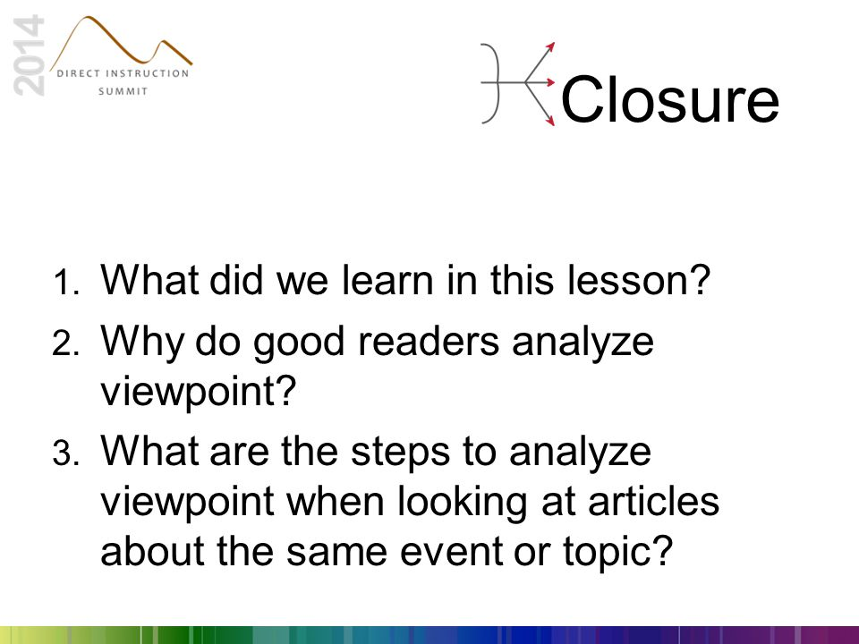 Closure 1. What did we learn in this lesson? 2. Why do good readers analyze viewpoint? 3. What are the steps to analyze viewpoint when looking at arti