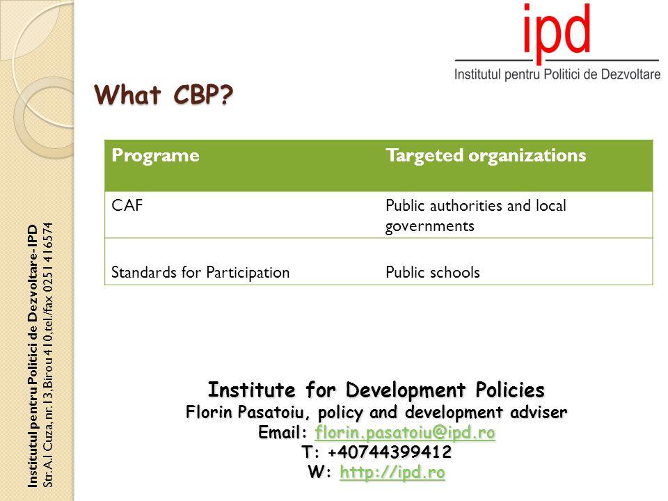 How.Institutul pentru Politici de Dezvoltare- IPD Str.