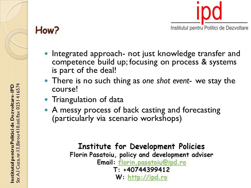 How. Institutul pentru Politici de Dezvoltare- IPD Str.