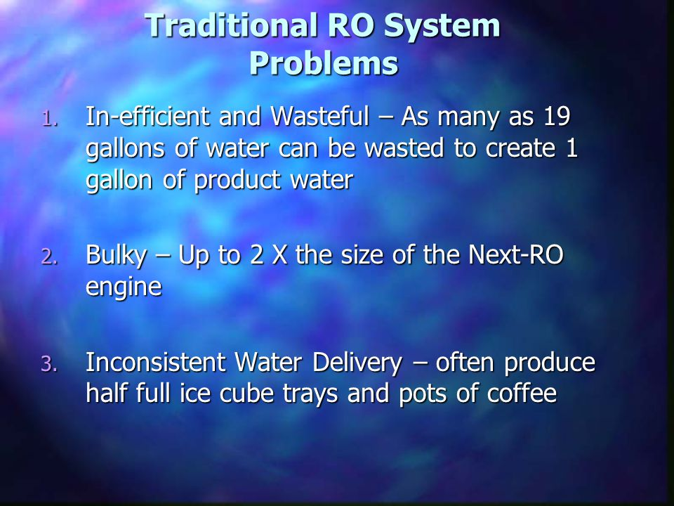 Traditional RO System Problems 1.