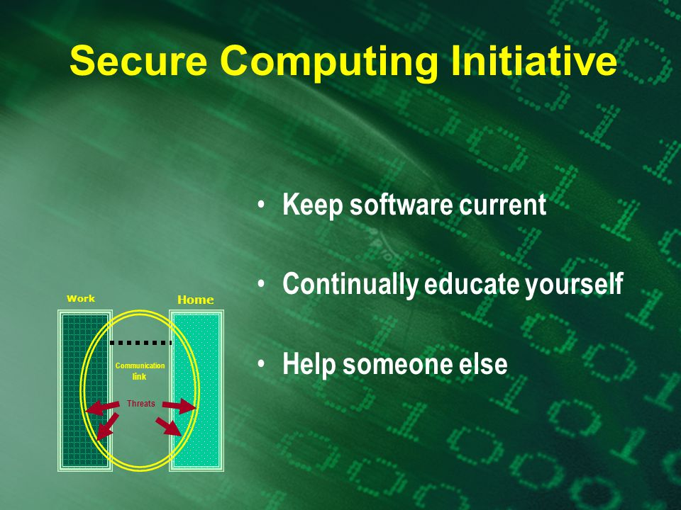 Secure Computing Initiative Keep software current Continually educate yourself Help someone else Work Home Threats Communication link