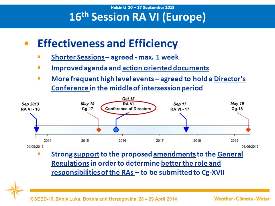 Effectiveness and Efficiency  Recognition of contribution of regional experts – 70 experts awarded 16 th Session RA VI (Europe) Helsinki 10 – 17 September 2013 ICSEED-13, Banja Luka, Bosnia and Herzegovina, 28 – 29 April 2014