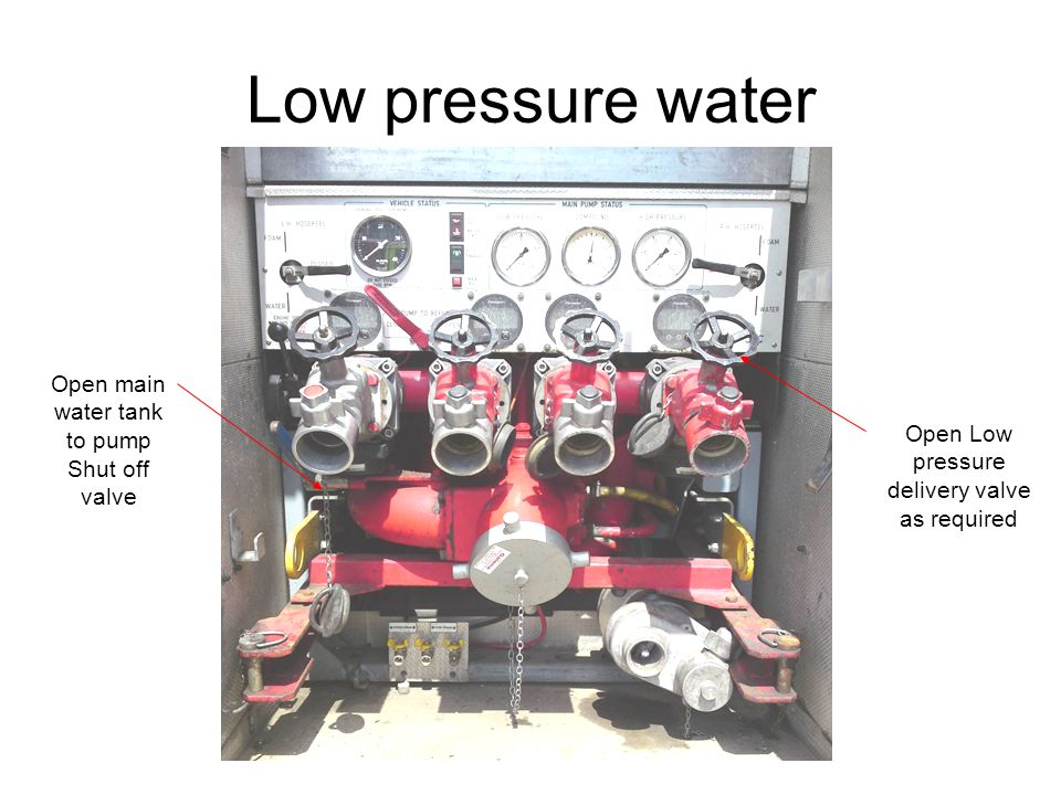 Low pressure water Open main water tank to pump Shut off valve Open Low pressure delivery valve as required