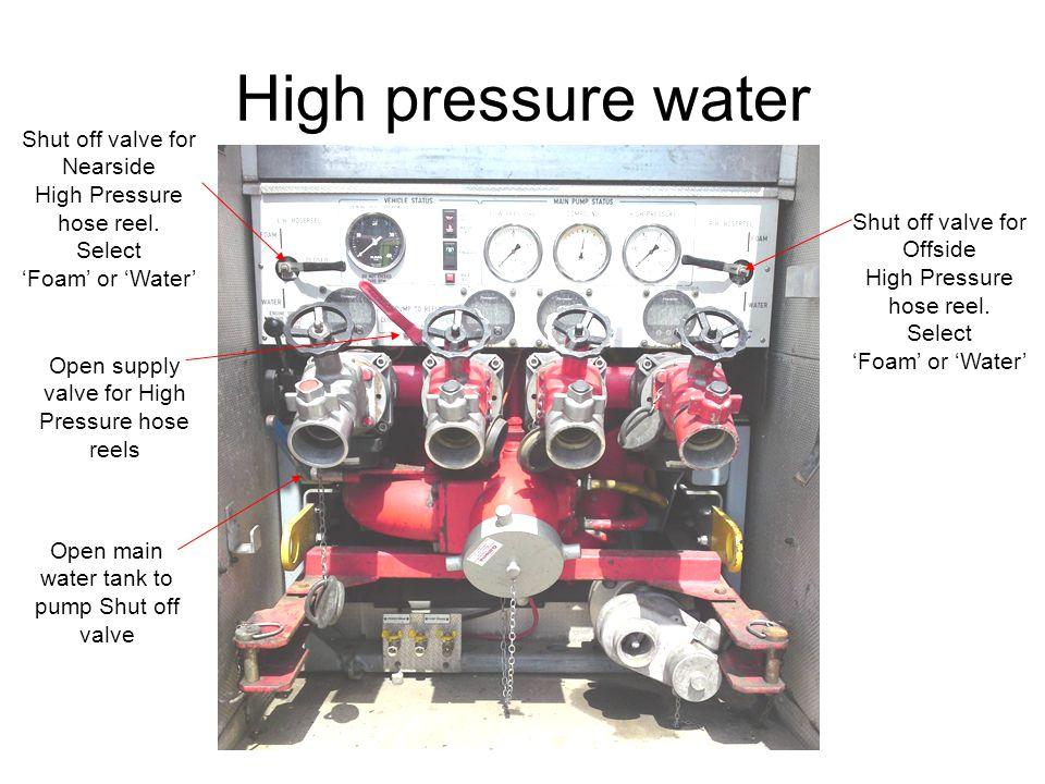 High pressure water Open supply valve for High Pressure hose reels Shut off valve for Nearside High Pressure hose reel. Select 'Foam' or 'Water' Shut