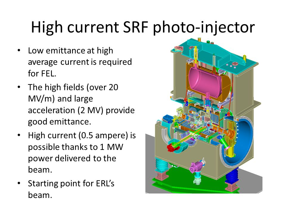 High current SRF photo-injector Low emittance at high average current is required for FEL.