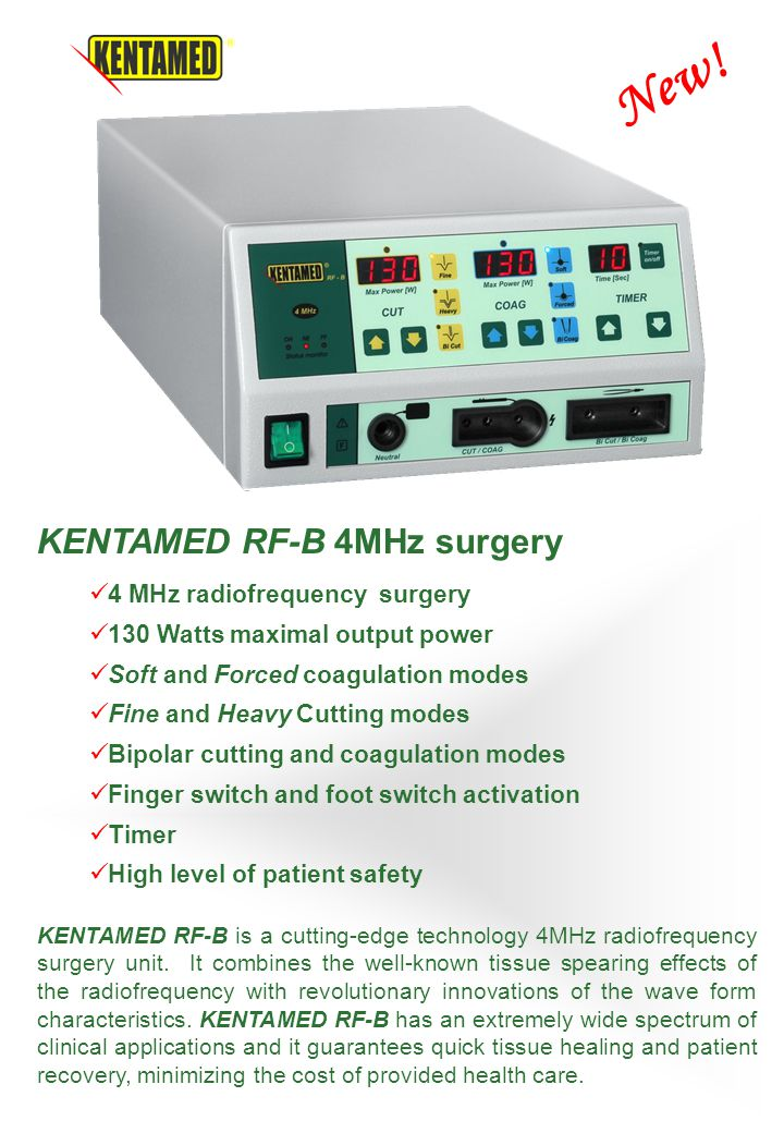 KENTAMED RF-B is a cutting-edge technology 4MHz radiofrequency surgery unit. It combines the well-known tissue spearing effects of the radiofrequency