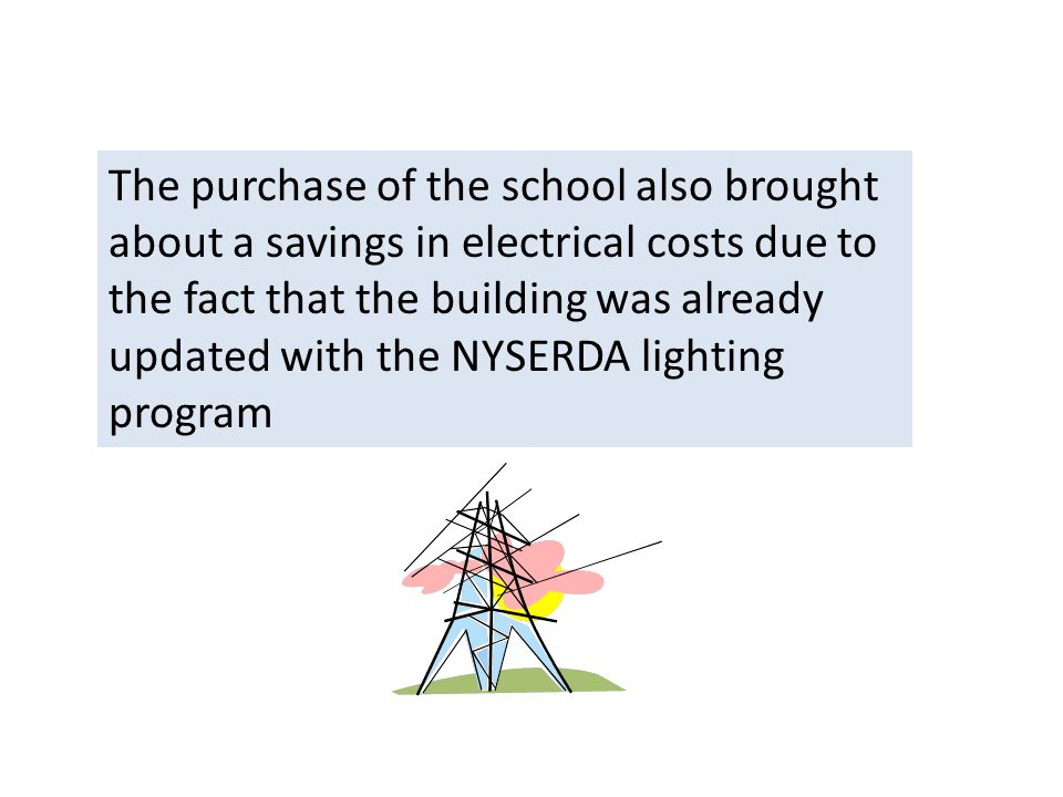 The purchase of the school also brought about a savings in electrical costs due to the fact that the building was already updated with the NYSERDA lighting program