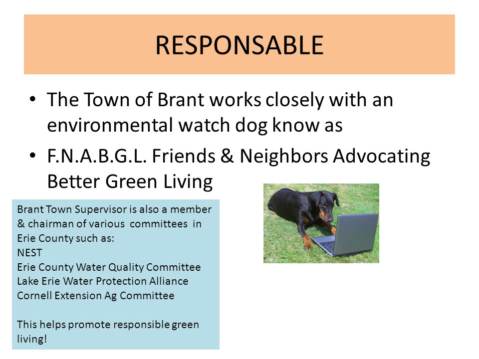 RESPONSABLE The Town of Brant works closely with an environmental watch dog know as F.N.A.B.G.L. Friends & Neighbors Advocating Better Green Living Br