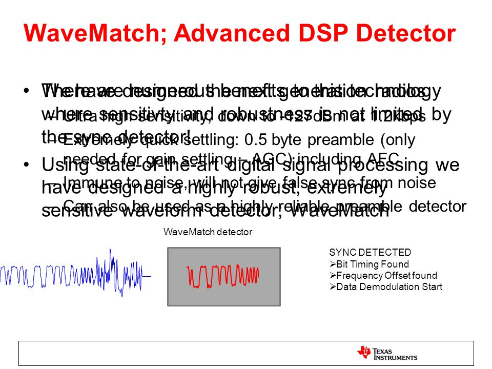WaveMatch; Advanced DSP Detector We have designed the next generation radios where sensitivty and robustness is not limited by the sync detector! Usin