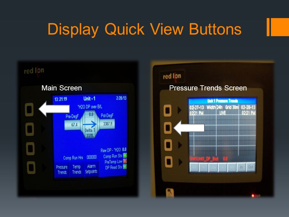 Display Quick View Buttons Main ScreenPressure Trends Screen