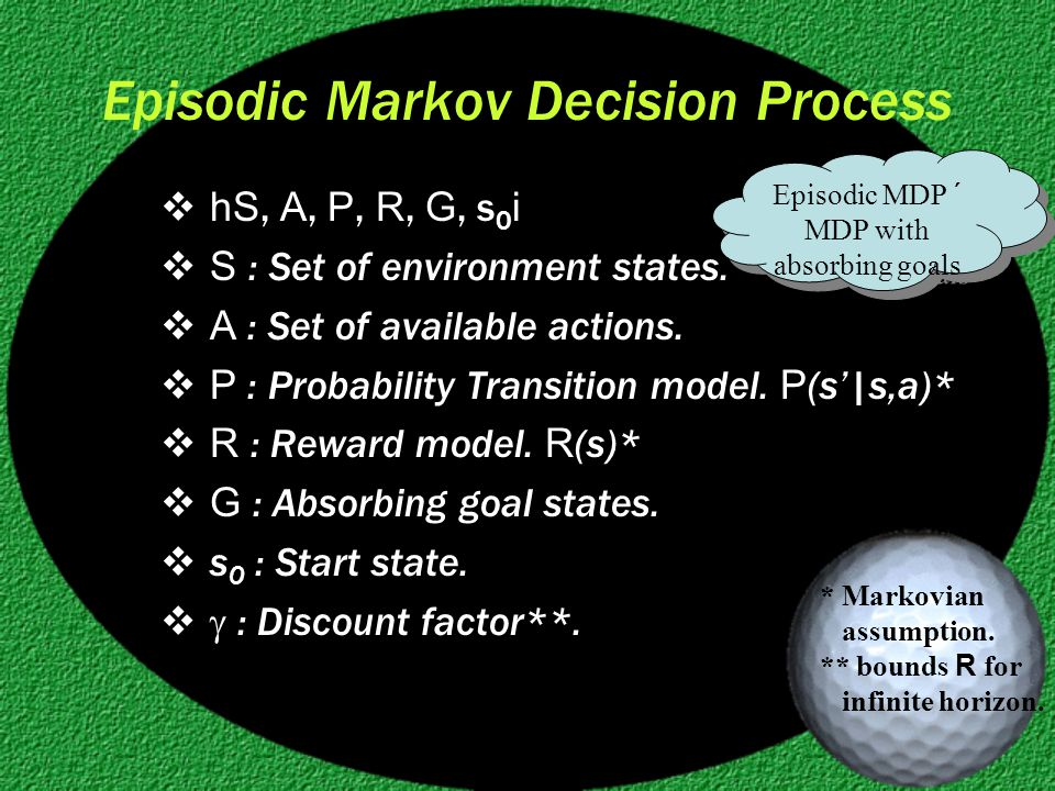 Episodic Markov Decision Process  hS, A, P, R, G, s 0 i  S : Set of environment states.