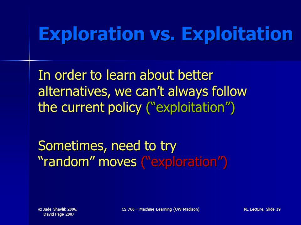 © Jude Shavlik 2006, David Page 2007 CS 760 – Machine Learning (UW-Madison)RL Lecture, Slide 19 Exploration vs.