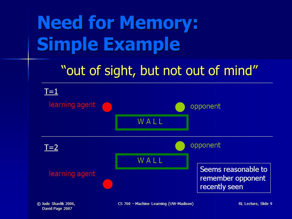 © Jude Shavlik 2006, David Page 2007 CS 760 – Machine Learning (UW-Madison)RL Lecture, Slide 9 Need for Memory: Simple Example out of sight, but not out of mind T=1 learning agent W A L L opponent T=2 learning agent W A L L opponent Seems reasonable to remember opponent recently seen