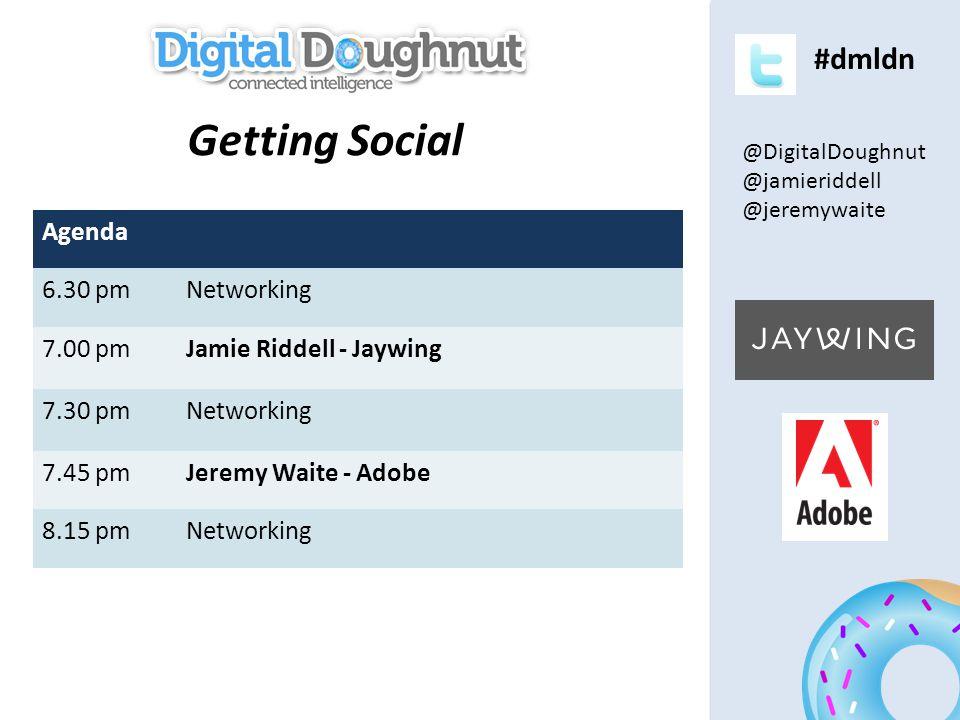 #dmldn Agenda 6.30 pmNetworking 7.00 pmJamie Riddell - Jaywing 7.30 pmNetworking 7.45 pmJeremy Waite - Adobe 8.15 pmNetworking Getting Social @DigitalDoughnut @jamieriddell @jeremywaite