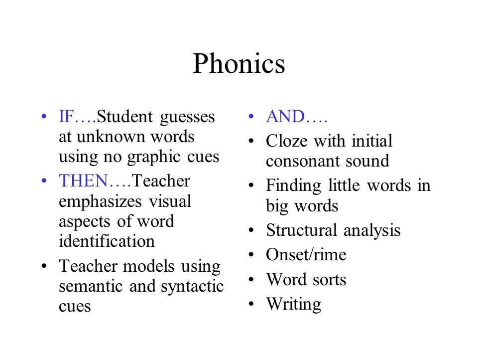 Phonics IF….Student guesses at unknown words using no graphic cues THEN….Teacher emphasizes visual aspects of word identification Teacher models using