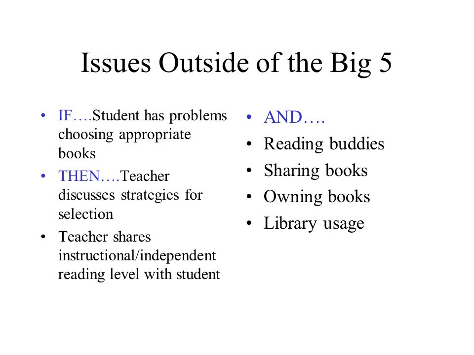 Issues Outside of the Big 5 IF….Student has problems choosing appropriate books THEN….Teacher discusses strategies for selection Teacher shares instru