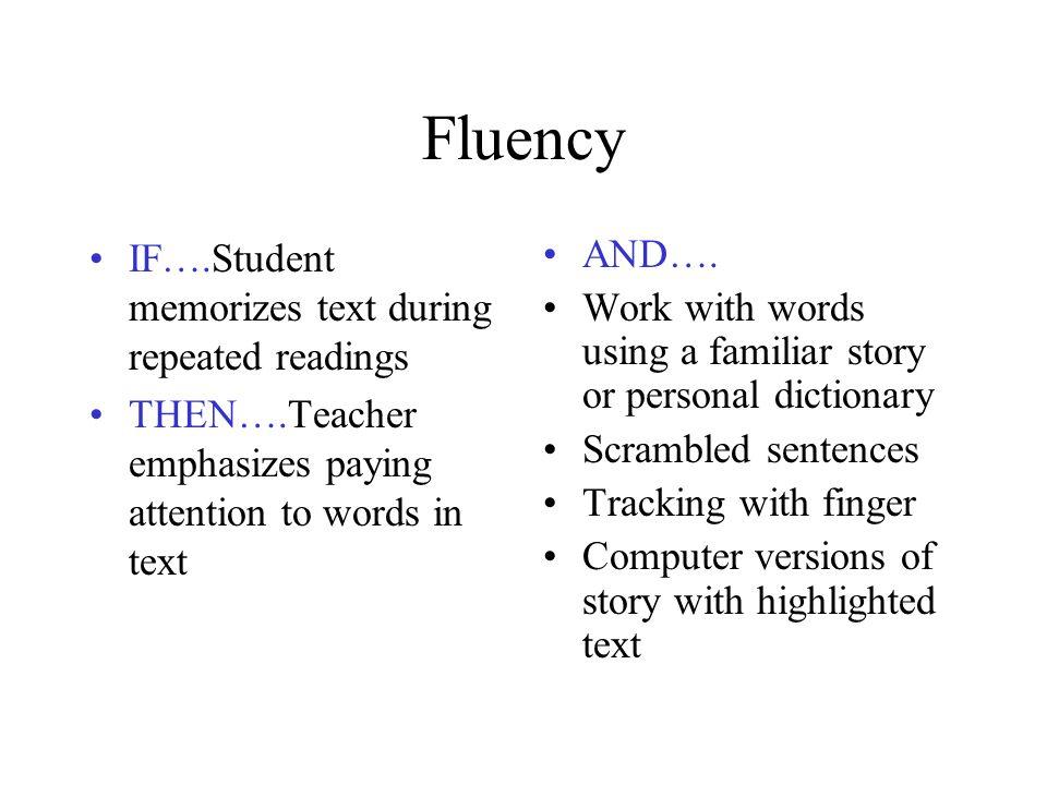 Fluency IF….