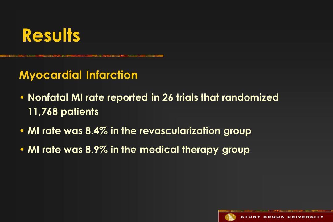 Results Myocardial Infarction Nonfatal MI rate reported in 26 trials that randomized 11,768 patients MI rate was 8.4% in the revascularization group MI rate was 8.9% in the medical therapy group