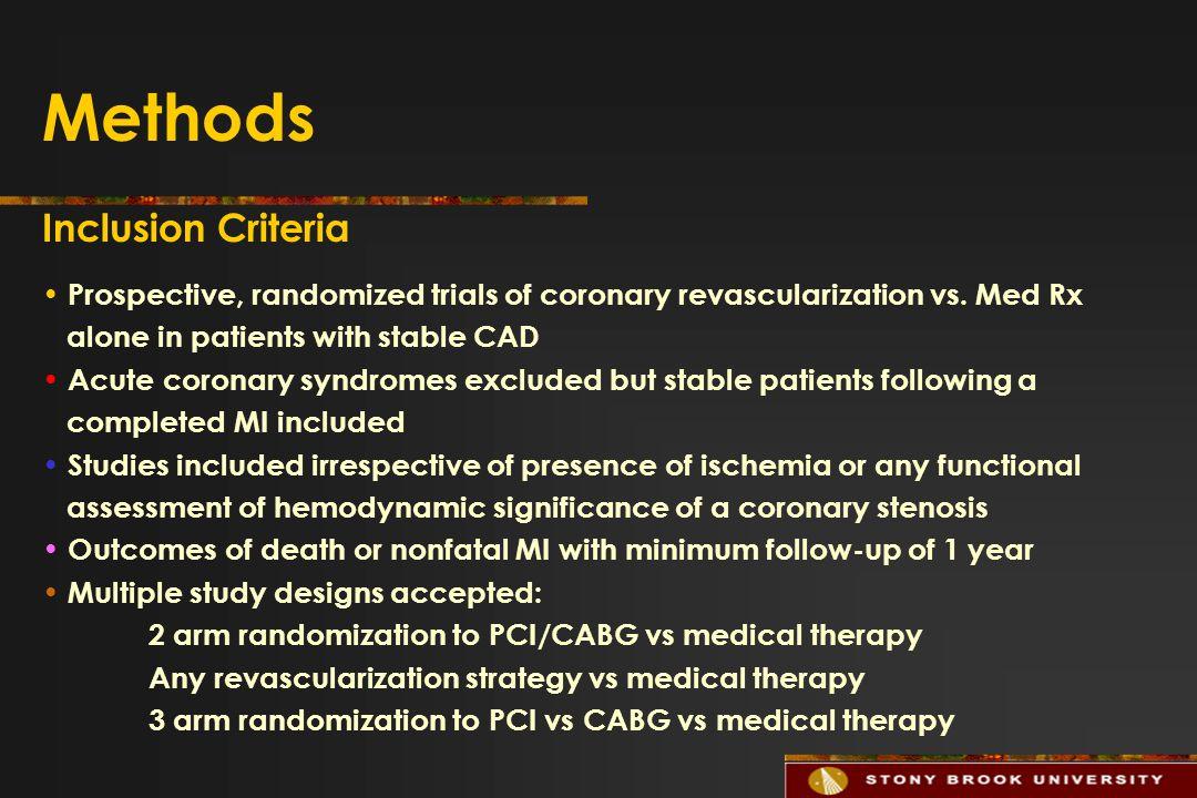 Methods Inclusion Criteria Prospective, randomized trials of coronary revascularization vs.