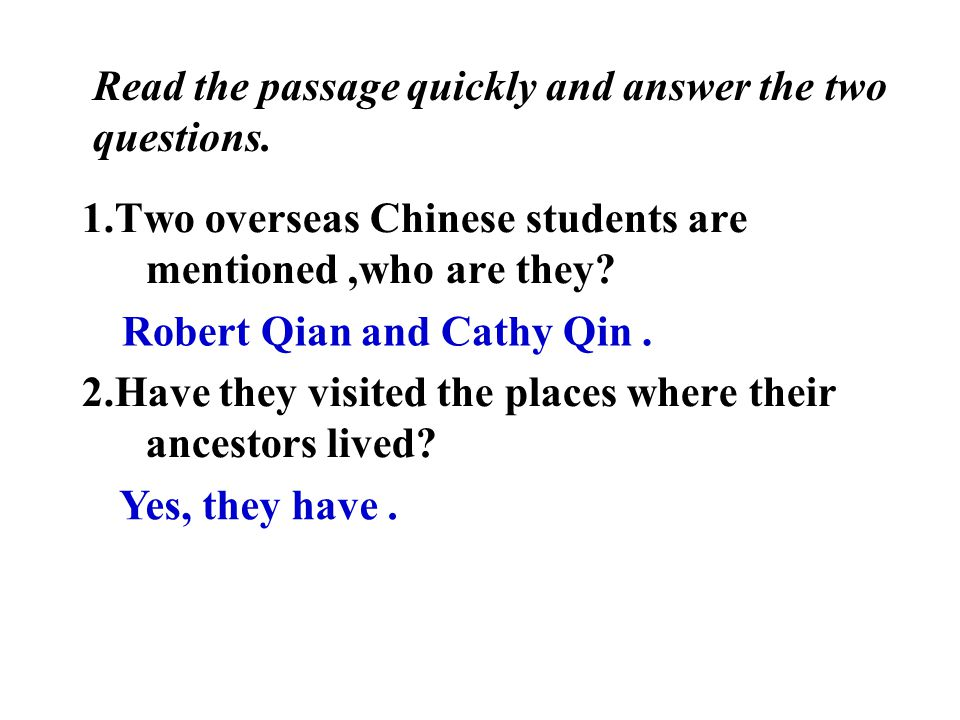 1.Who is Robert Qian.He is a Chinese Canadian. His family is like a tall tree with long roots.