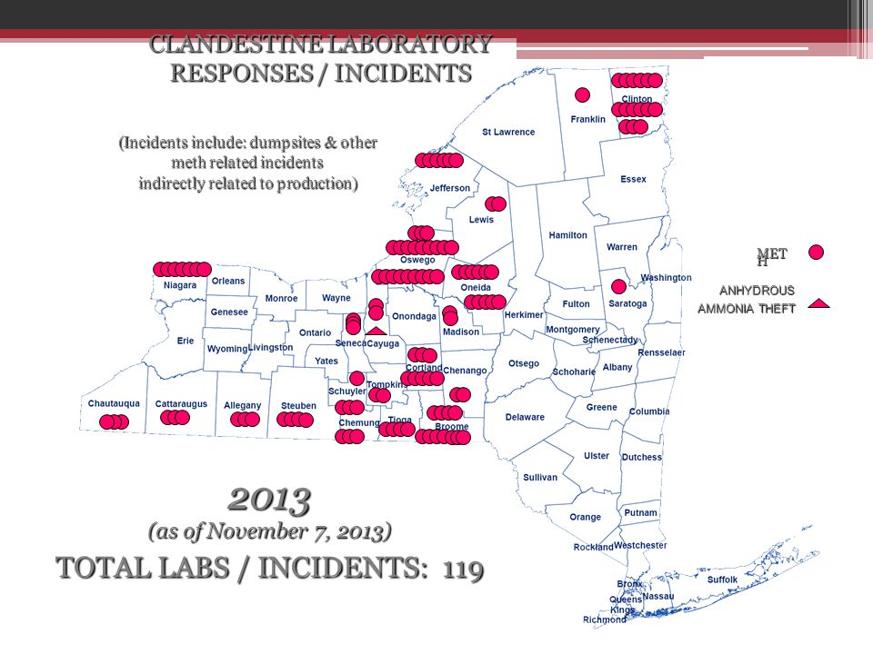 CLANDESTINE LABORATORY RESPONSES / INCIDENTS (Incidents include: dumpsites & other meth related incidents indirectly related to production) 2013 (as o