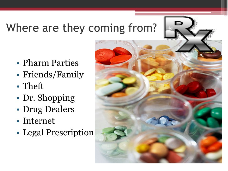 Where are they coming from? Pharm Parties Friends/Family Theft Dr. Shopping Drug Dealers Internet Legal Prescription