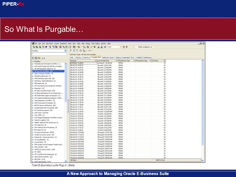 A New Approach to Managing Oracle E-Business Suite PIPER-Rx So What Is Purgable… Toad E-Business suite Plug-in (Beta)