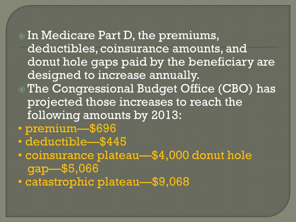  In Medicare Part D, the premiums, deductibles, coinsurance amounts, and donut hole gaps paid by the beneficiary are designed to increase annually.