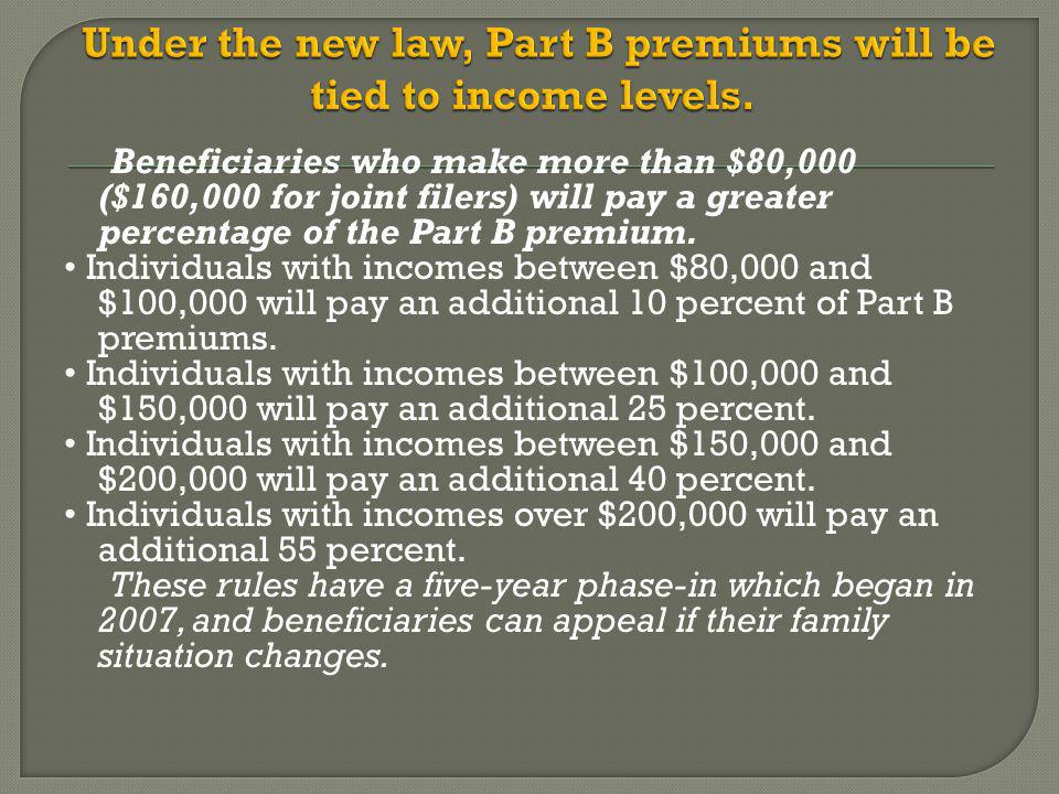 Beneficiaries who make more than $80,000 ($160,000 for joint filers) will pay a greater percentage of the Part B premium.
