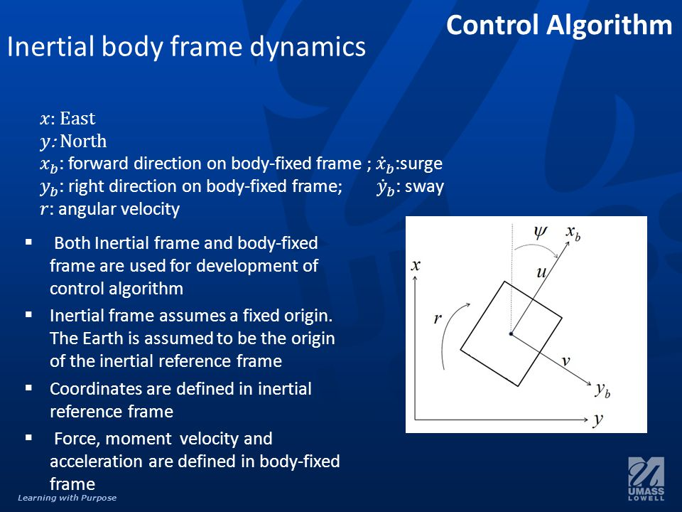 Learning with Purpose Inertial body frame dynamics  Both Inertial frame and body-fixed frame are used for development of control algorithm  Inertial