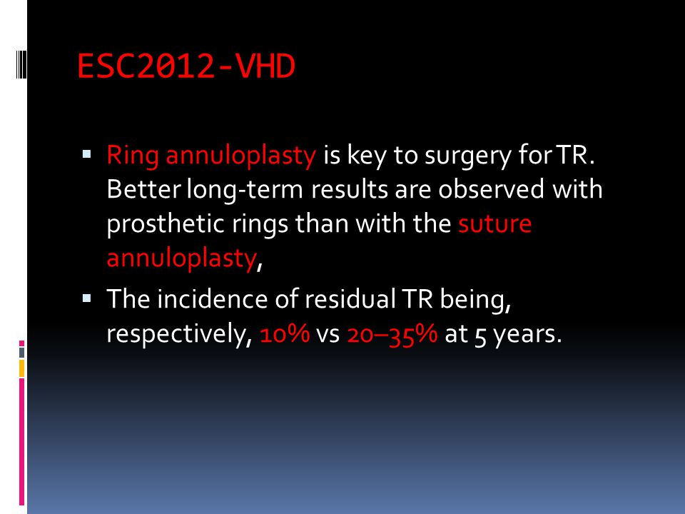 ESC2012-VHD  Ring annuloplasty is key to surgery for TR.
