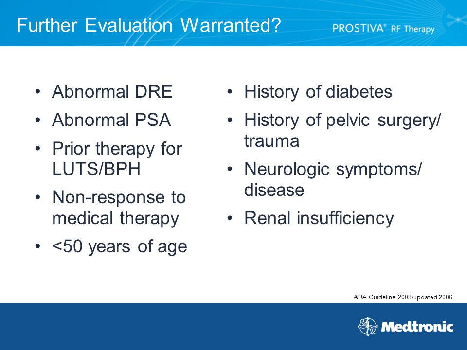 Further Evaluation Warranted? Abnormal DRE Abnormal PSA Prior therapy for LUTS/BPH Non-response to medical therapy <50 years of age History of diabete