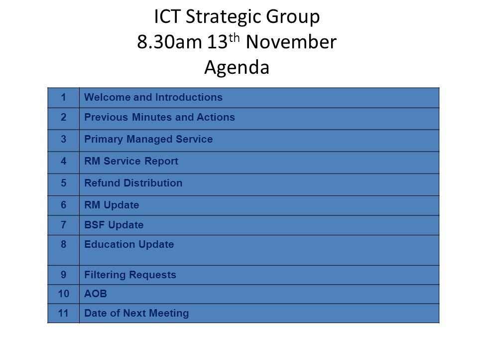 ICT Strategic Group 8.30am 13 th November Agenda 1Welcome and Introductions 2Previous Minutes and Actions 3Primary Managed Service 4RM Service Report 5Refund Distribution 6RM Update 7BSF Update 8Education Update 9Filtering Requests 10AOB 11Date of Next Meeting