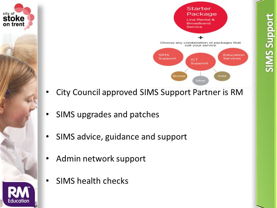 City Council approved SIMS Support Partner is RM SIMS upgrades and patches SIMS advice, guidance and support Admin network support SIMS health checks