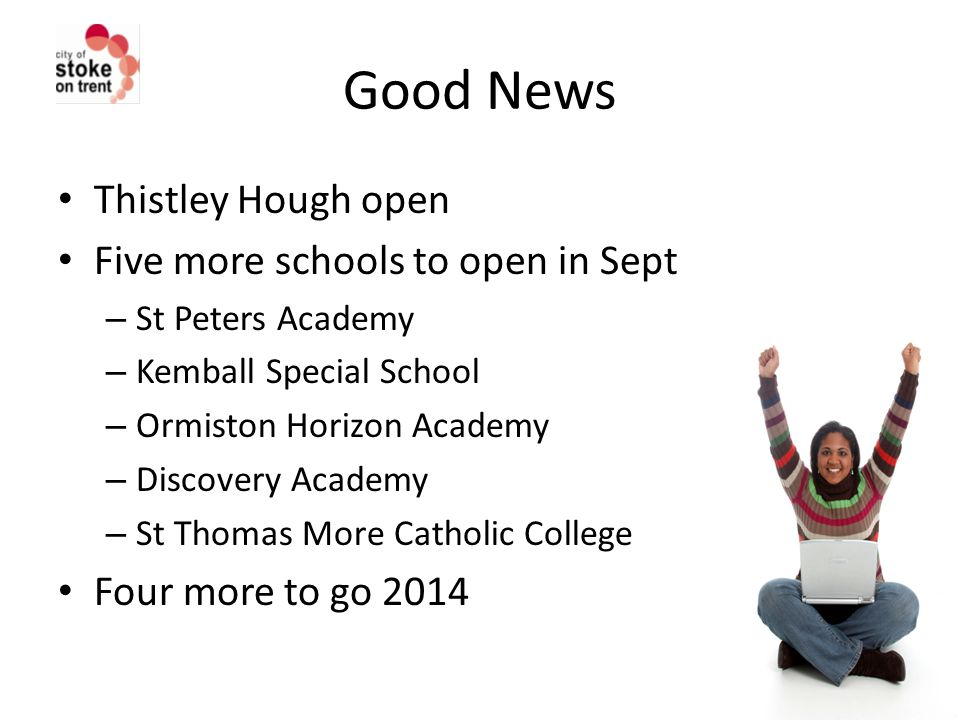 Good News Thistley Hough open Five more schools to open in Sept – St Peters Academy – Kemball Special School – Ormiston Horizon Academy – Discovery Academy – St Thomas More Catholic College Four more to go 2014