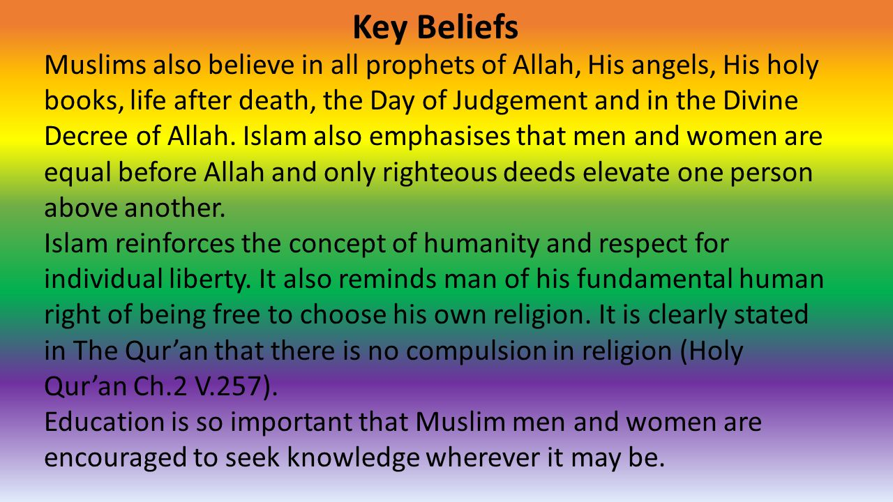 Key Beliefs Muslims also believe in all prophets of Allah, His angels, His holy books, life after death, the Day of Judgement and in the Divine Decree of Allah.