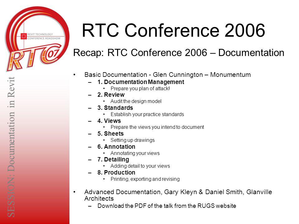 RTC Conference 2006 Recap: RTC Conference 2006 – Documentation Basic Documentation - Glen Cunnington – Monumentum –1. Documentation Management Prepare