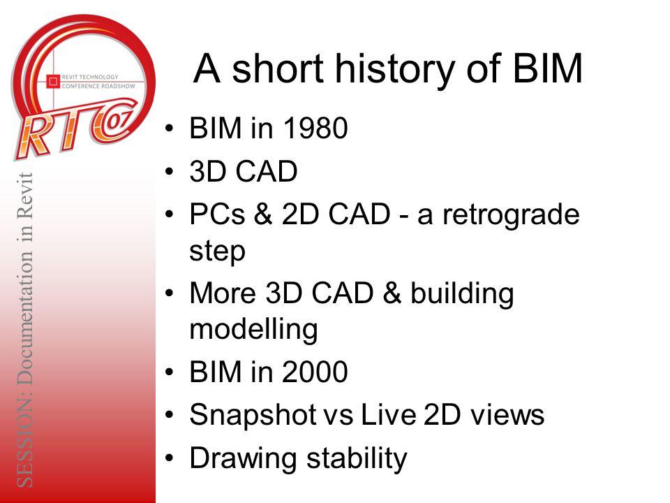 A short history of BIM BIM in 1980 3D CAD PCs & 2D CAD - a retrograde step More 3D CAD & building modelling BIM in 2000 Snapshot vs Live 2D views Draw