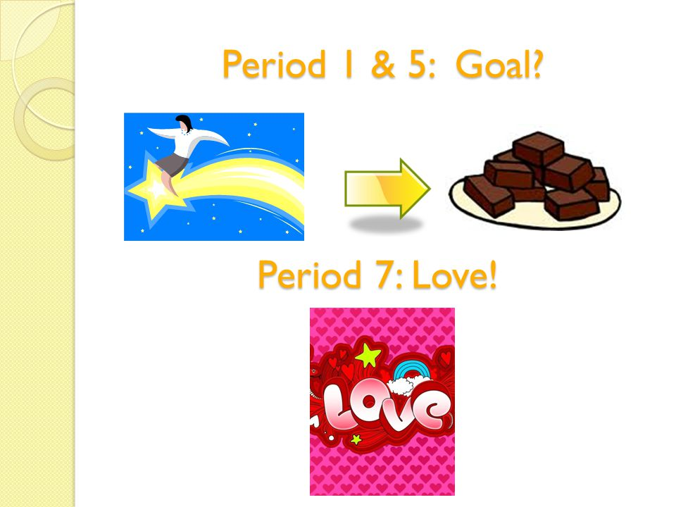 Period 1 & 5: Goal Period 7: Love!