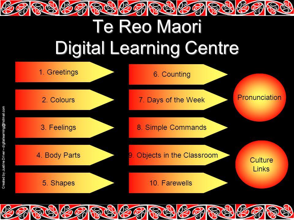 Te Reo Maori Digital Learning Centre 1.Greetings 2.