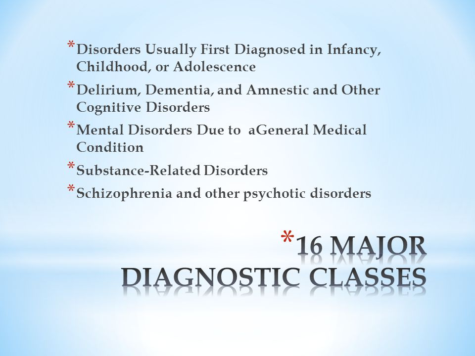 * Disorders Usually First Diagnosed in Infancy, Childhood, or Adolescence * Delirium, Dementia, and Amnestic and Other Cognitive Disorders * Mental Disorders Due to aGeneral Medical Condition * Substance-Related Disorders * Schizophrenia and other psychotic disorders