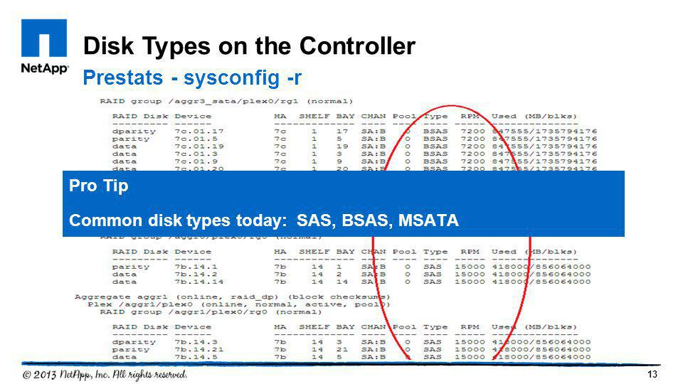 13 Disk Types on the Controller Pro Tip Common disk types today: SAS, BSAS, MSATA Prestats - sysconfig -r