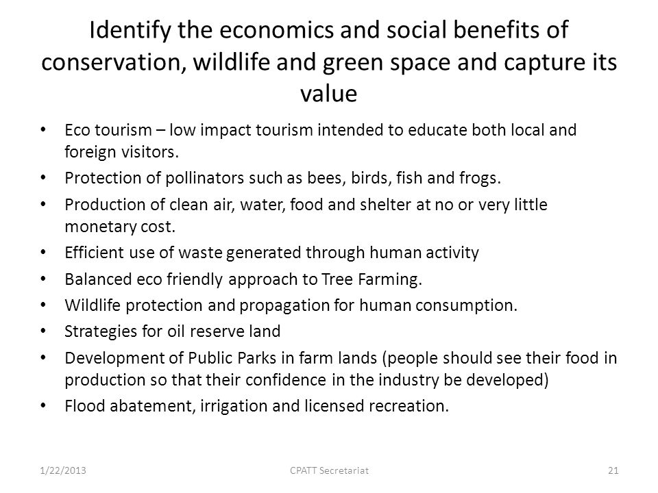 Identify the economics and social benefits of conservation, wildlife and green space and capture its value Eco tourism – low impact tourism intended to educate both local and foreign visitors.