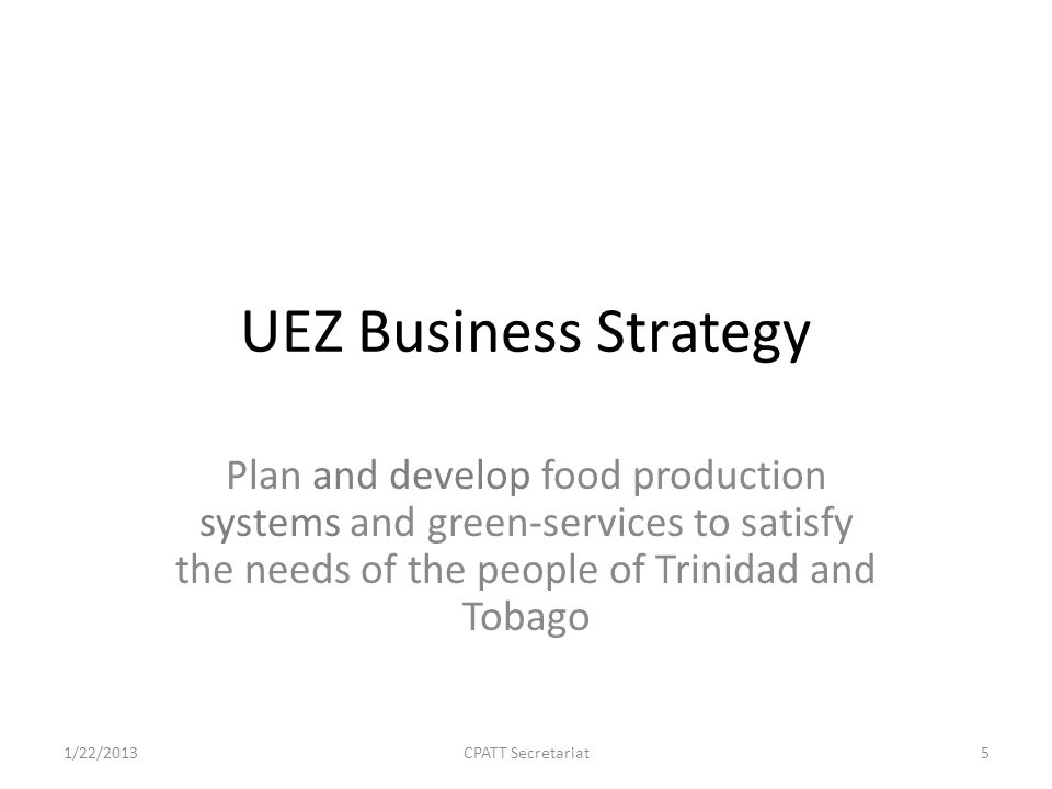 Identify the foods to be targeted by the UEZ for production in Trinidad and Tobago(SAMPLE) 1/22/2013CPATT Secretariat6 $$KGTarget $Target kgTargetCost ofBreakevenProfit Indicator2011 20% YearProdPoint$ OTHER BOVINE BONELESS MEAT FROZEN95,552,2093,100,38319,110,442620,077 OTHER CUTS OF SHEEP WITH BONE FROZEN51,264,6801,529,26310,252,936305,853 MEAT OF GOATS, FRESH CHILLED FROZEN49,913,6143,835,6109,982,723767,122 MILK, CREAM, POWDER OR GRANULES95,702,5303,515,27119,140,506703,054 MILK, CREAM IN POWDER UNSWEETENED96,287,0982,912,88619,257,420582,577 MAIZE, OTHER (CORN)150,610,33553,389,78430,122,06710,677,957 OTHER ANIMAL FEED PREPARATIONS182,157,09453,022,46636,431,41910,604,493 OTHER RAW CANE SUGAR78,485,25515,801,36915,697,0513,160,274 OTHER SUGAR245,545,33542,981,64249,109,0678,596,328